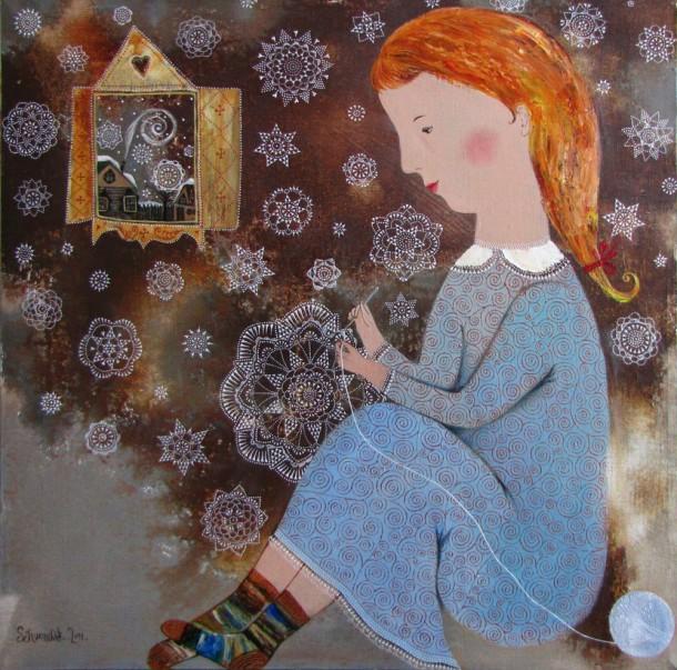 Снежное кружево. 2011г. 65х65. холст. масло
